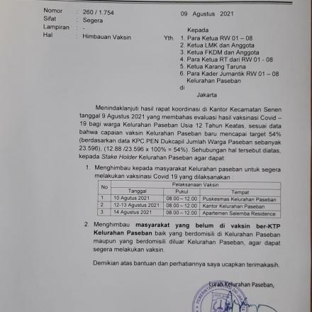 Vaksin Covid-19 di Apt Salemba Residence, Ruang Serba Guna Lantai 2, 1 Juli 2021 jam 08:00 – selesai